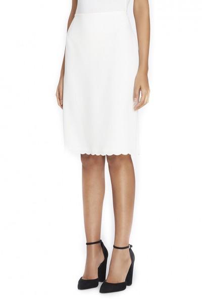 Tahari - Women's Scalloped-Hem Crepe Skirt - Cloud