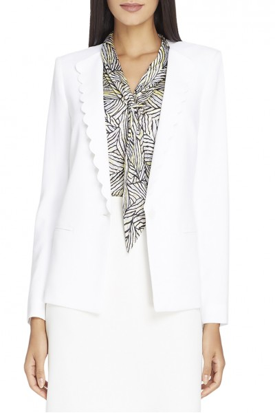 Tahari - Women's Scalloped-Lapel Crepe Jacket - Cloud