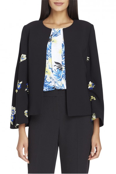 Tahari - Women's Floral Embroidered Crepe Jacket - Black
