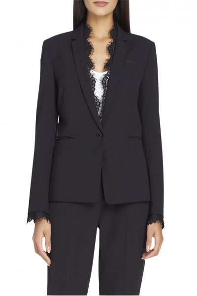Tahari - Women's Lace-Trim Bi-Stretch Jacket - Black