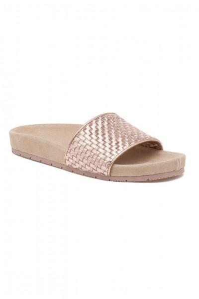 JSlides - Naomi Metallic Leather Sandal - Rosegold