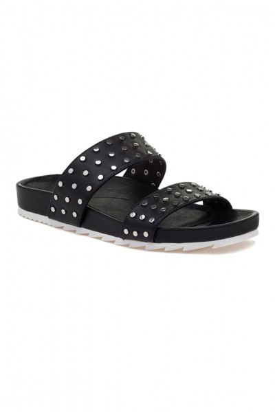 Jslides - Women's Erika Black Leather - Black