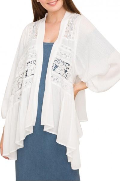 Mystree - Women's Lace Paneled Open Cardigan - White