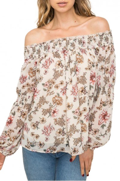 Mystree - Women's Floral Print Off Shoulder Blouse - Multi