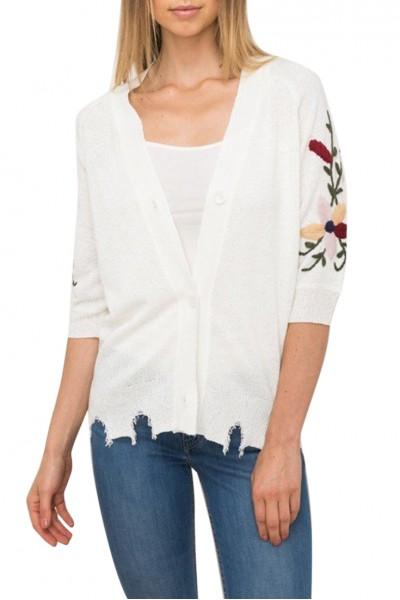 Mystree - Women's Embroidered Sleeve Cardigan - Cream