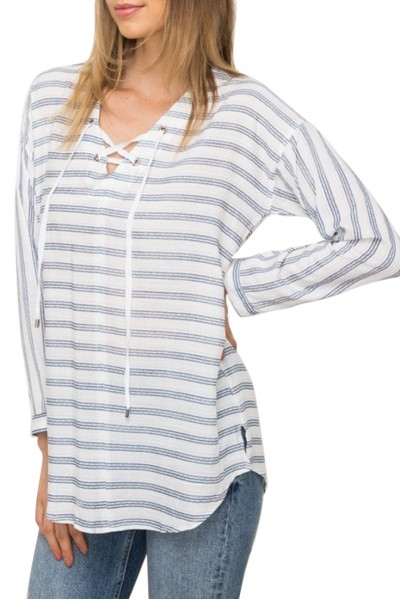 Mystree - Women's Lace Up Stripe Pullover - White/Blue
