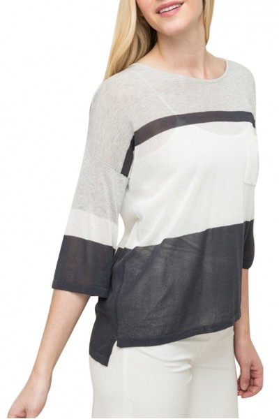 Mystree -  Stripe Boxy Pullover With Cross Back Detail - Cream/Blue