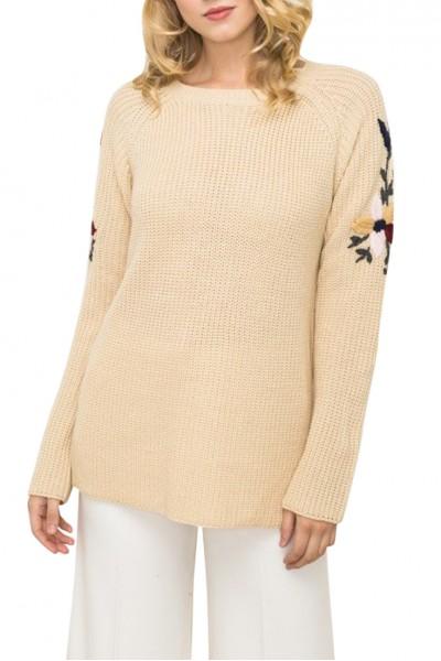 Mystree -  Flower Embroidered Sleeve Sweater - Beige