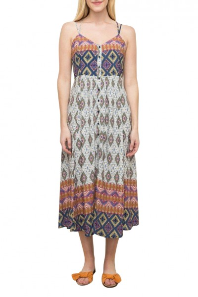 Mystree - Women's Printed Maxi With Cross Strap Two - Multi