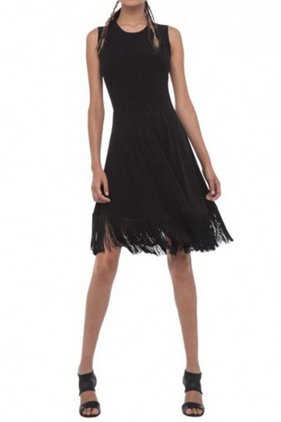 Norma Kamali - Women's Lamp Shade Dress - Black