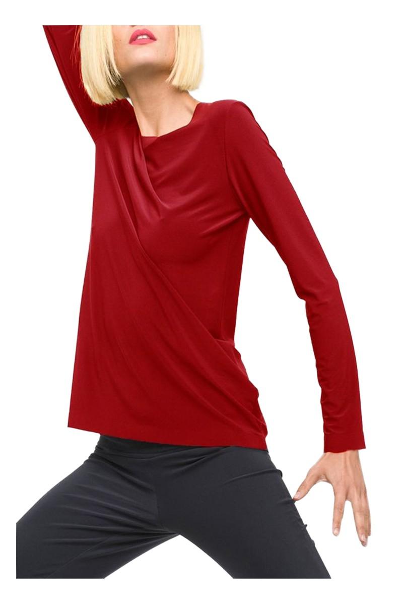 Norma Kamali - Women's Long Sleeve Crew Top - Red