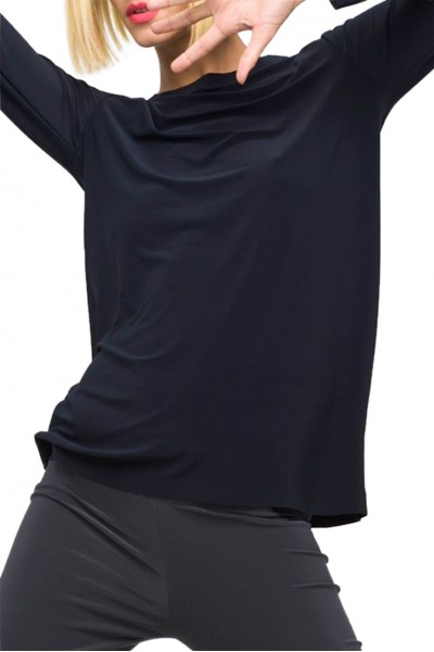 Norma Kamali - Women's Long Sleeve Crew Top - Midnight