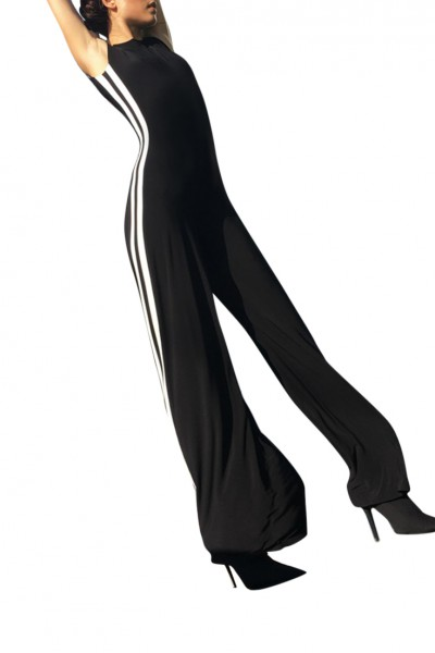 Norma Kamali -  Side Stripe Sleeveless Jumpsuit - Black Stripe