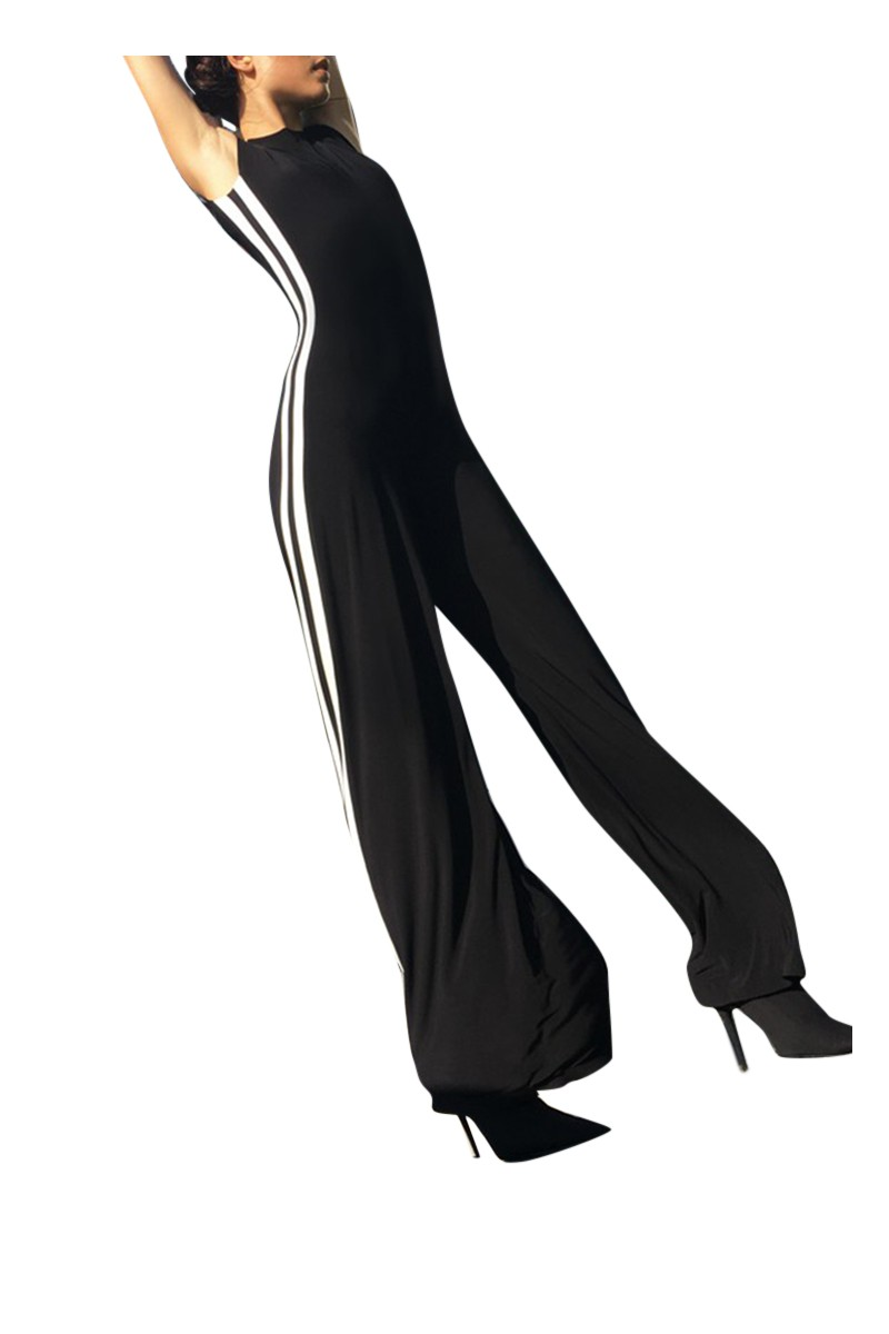 Norma kamali women 39 s side stripe sleeveless jumpsuit - Norma kamali costumi da bagno ...