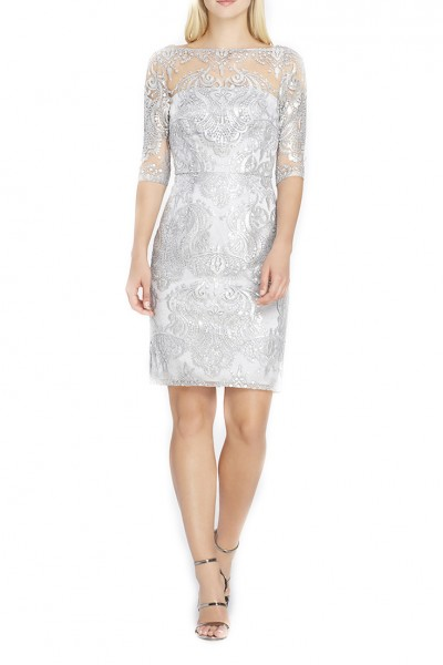 Tahari Brand - Sequin Illusion Sheath Dress - Silver