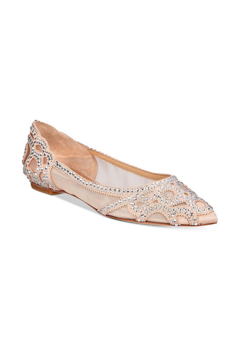 Badgley Mischka - Women's Gigi Pointed Toe Flat Evening Shoe - Latte