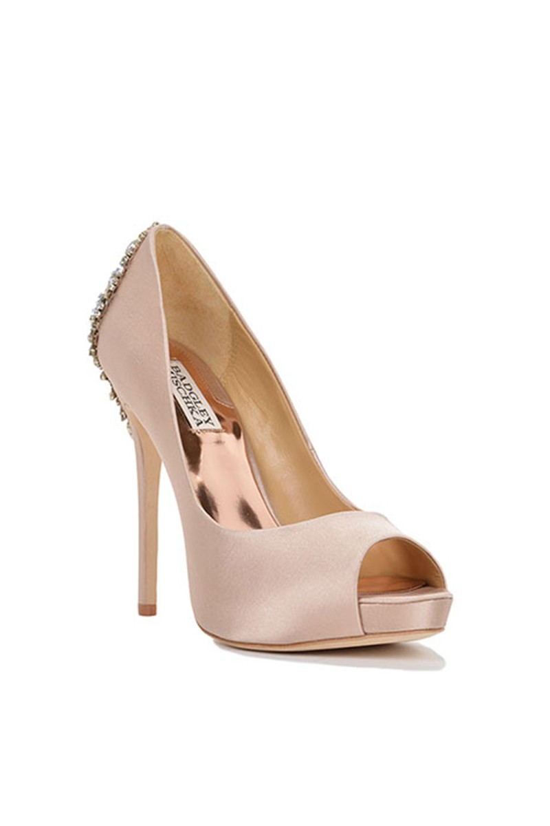 Badgley Mischka - Women's Kiara Embellished Peep-Toe Pump - Latte