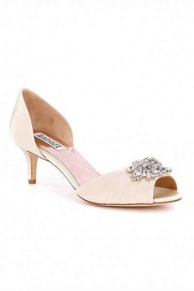 Badgley Mischka - Women's Sabine Satin d'Orsay Pumps - Ivory