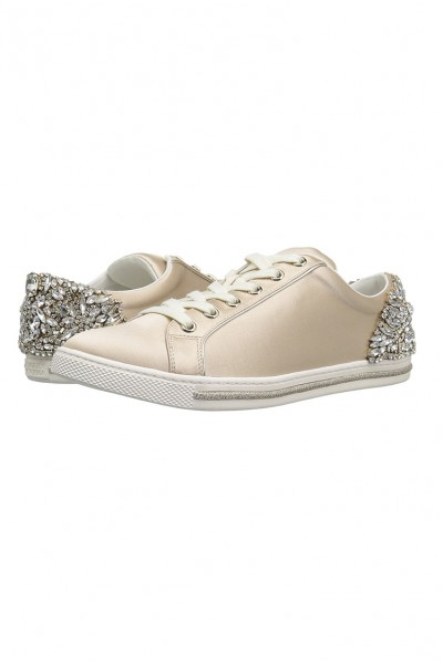 Badgley Mischka - Women's Shirley Embellished Lace Up Sneakers - Nude