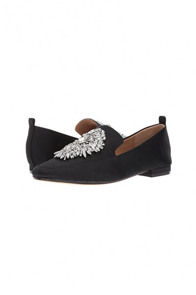 Badgley Mischka - Women's Salma Brocade Jeweled Embellishment Loafers - Black