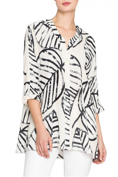 Nic+Zoe - Women's Etched Leaves Top - Sandshell