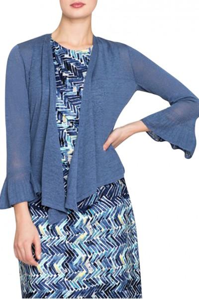 Nic+Zoe - Women's Ruffle Cuff 4 way Cardy - Mosaic Blue
