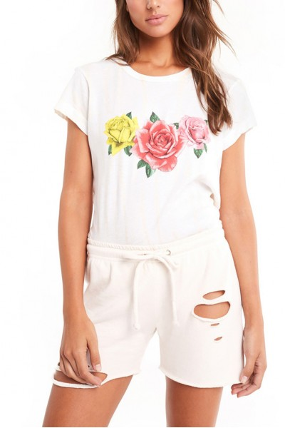 Wildfox - Women's Triple Rose No9 Tee - Nude Haze Stripe