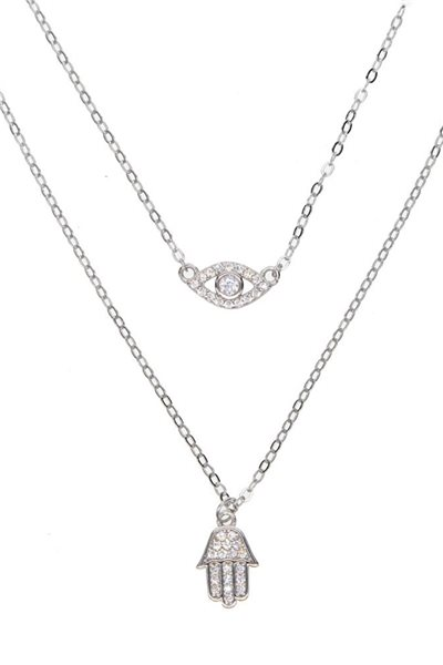 Tease By Tory - Women's Double Evil Eye Chain Hamsa Necklace - Silver