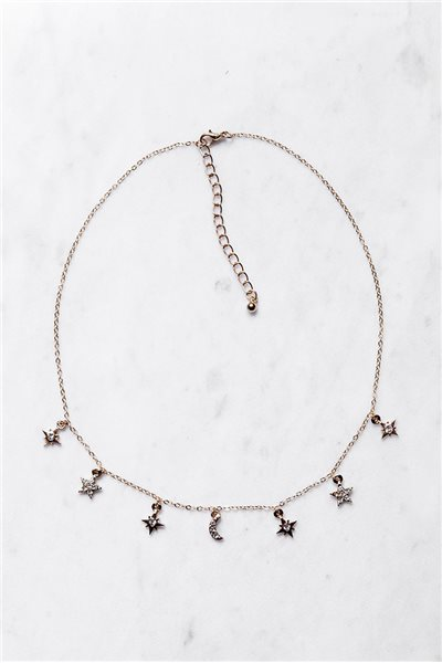 Tease By Tory - Women's Moon Star Burst Necklace -  Gold