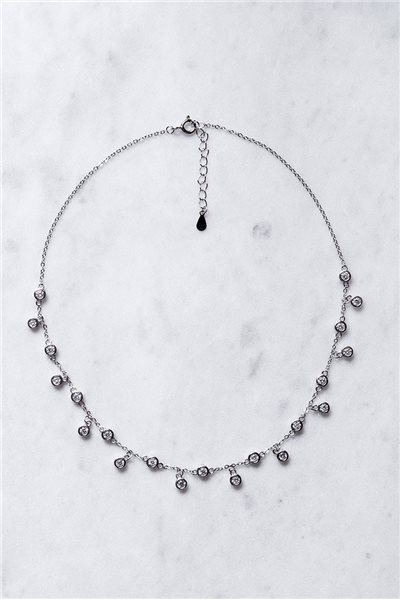 Tease By Tory - Women's Crystal Drip Necklace - Silver