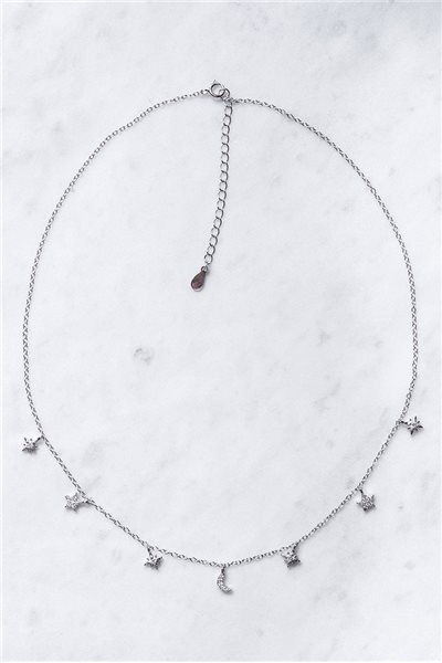 Tease By Tory - Women's Moon Child Chian Necklace - Silver