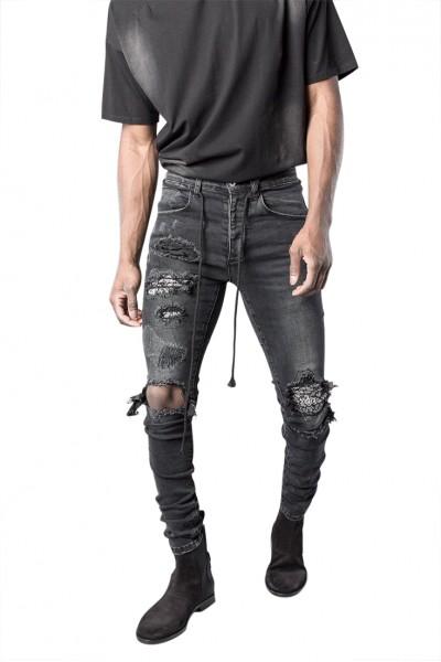 Kollar - Men's Paisley Destroyed Denim - Black