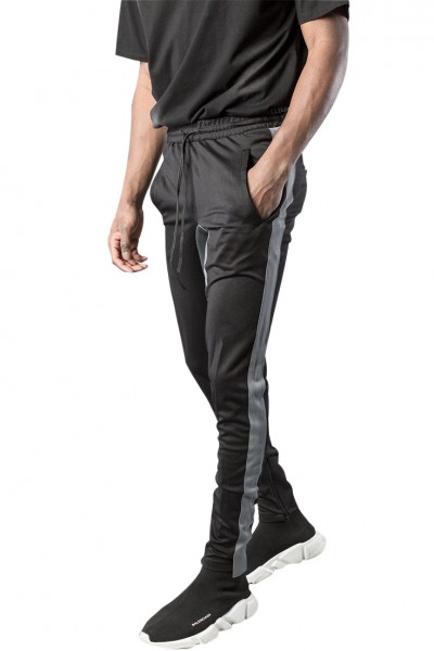 Kollar - Men's Racer Track Pant - Black Grey