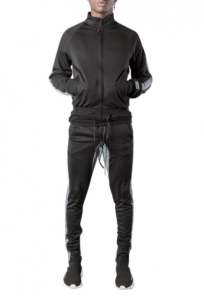 Kollar - Men's Classic Track Jacket - Black Grey