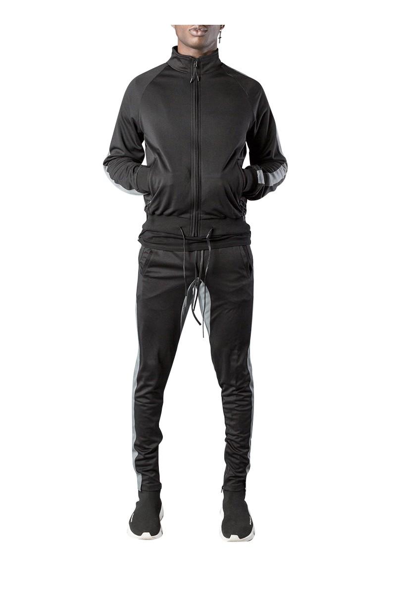 Kollar - Men's Classic Track Jacket - Black Grey