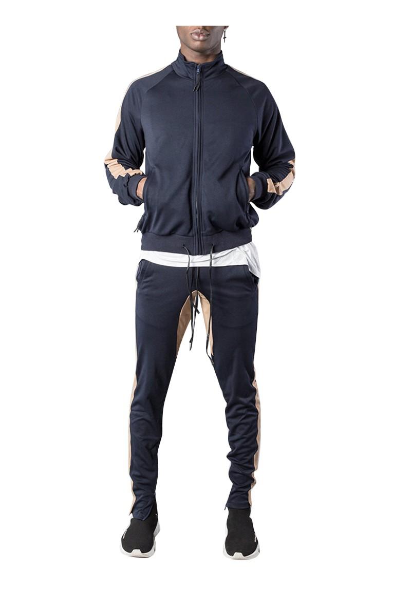 Kollar - Men's Classic Track Jacket - Navy Tan