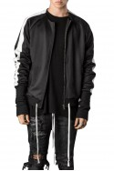 Kollar - Men's Elongated Cuff Track Jacket - Black White