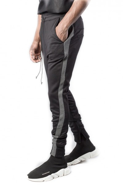 Kollar - Men's Overlap Track Pant - Black Charcoal Stripe