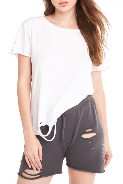 Wildfox - Women's Rainbow Glitz Sleeve Stellar Tee - Clean White