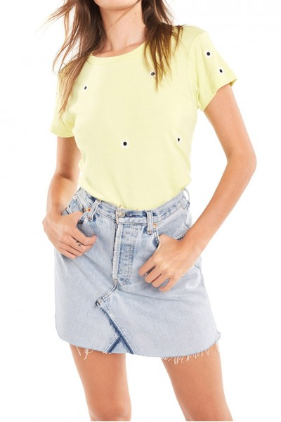 Wildfox - Women's All Over Mod Daises No9 Tee - Yellow Glow