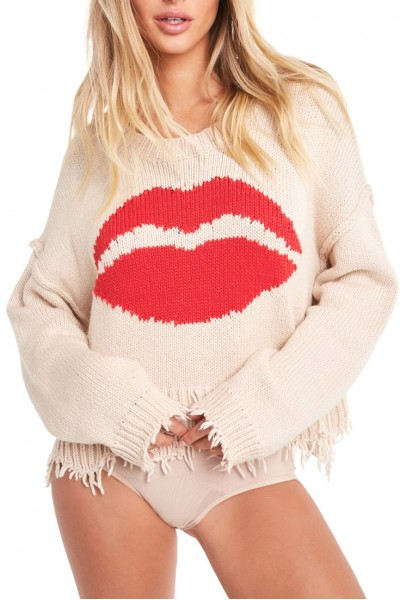 Wildfox - Women's First Kiss Luna Sweater - Nude Haze