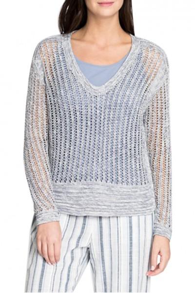 Nic+Zoe - Women's Plunging Knit Top - Indigo Mix