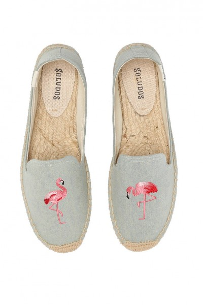 Soludos - Women's Embroidered Smoking Slipper - Chambray