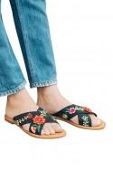 Soludos - Women's Embellished Floral Sandal - Black