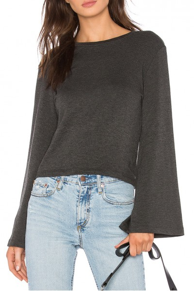 LNA - Women's Bell Sleeve Crop - Anthracite
