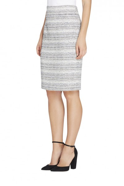 Tahari - Women's Metallic Boucle High-Waistband Skirt - Ivory