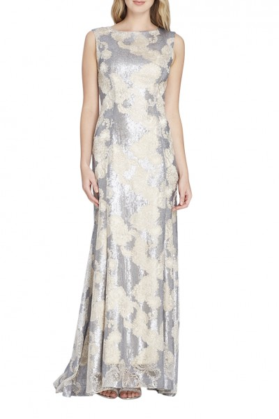 Tahari - Women's Sequin Embroidered Metallic Gown - Gun.Metal