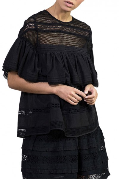 Sacks - Women's Fay Lace Trimmed Ruffled Blouse - Black