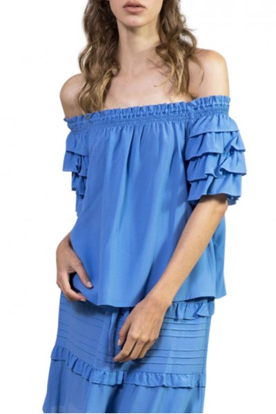 Sacks - Women's Penny off shoulder blouse - Blue