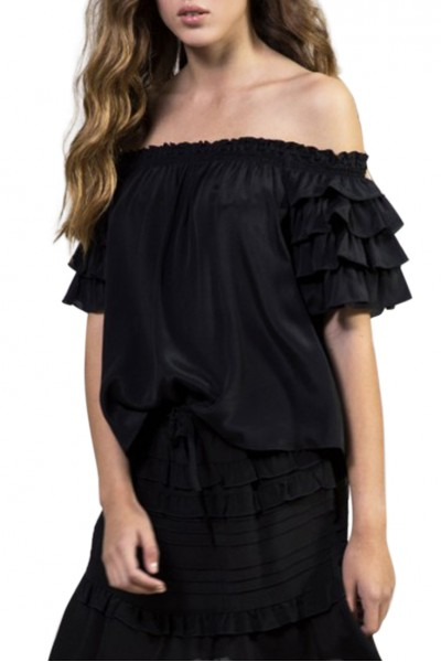 Sacks - Women's Penny off shoulder blouse - Black